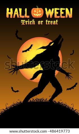 howling werewolf with halloween