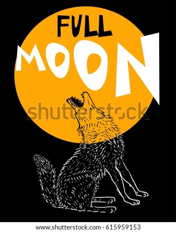 howling wolf at the full moon
