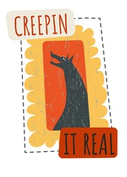 Howling wolf creeping it real, postcard with wild animal for halloween. Celebration of traditional american holiday in october 31, autumn event. All hallows eve festive event, vector in flat style