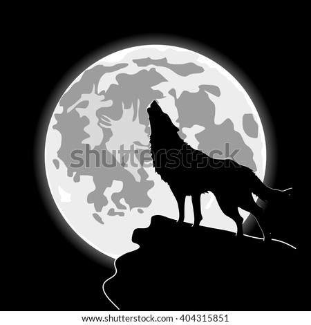 howling wolf in front of the