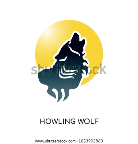 howling wolf logo isolated on white background for your web, mobile and app design, howling wolf icon concept