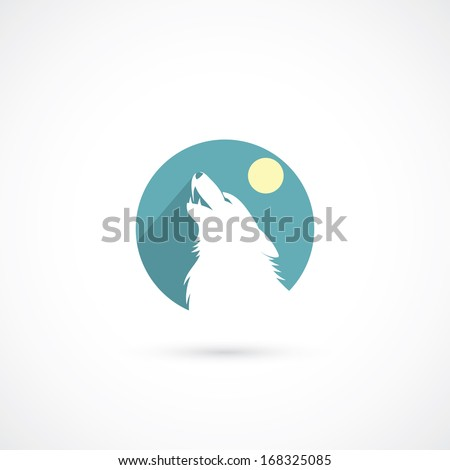 Howling wolf sign - vector illustration