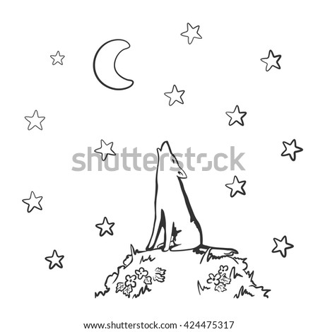 howling wolf under moon doodle
