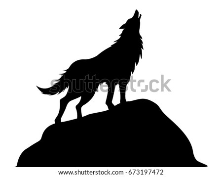 howling wolf vector drawing