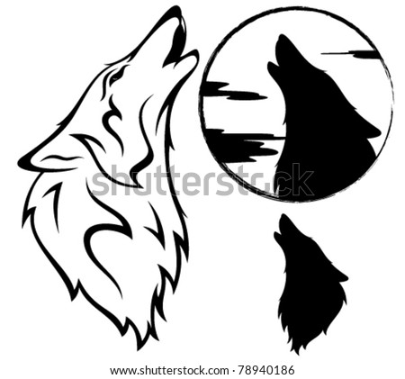 Wolf Tattoos on Stock Vector   Howling Wolf Vector Illustration   Outline  Silhouette