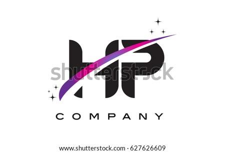 hp h p black letter logo design