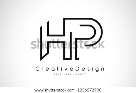 hp h p letter logo design in