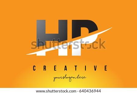 hp h p letter modern logo
