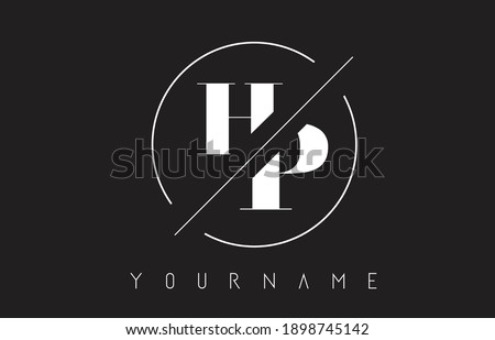 HP Letter Logo with Cutted and Intersected Design and Round Frame Vector Illustration