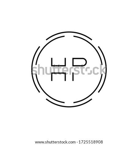 HP Logo Design Vector Template. Initial Circle Letter HP Vector Illustration