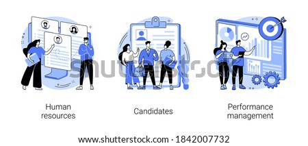 HR and headhunter service abstract concept vector illustration set. Human resources, candidates, performance management, find employee, job applicant, HR management software abstract metaphor.
