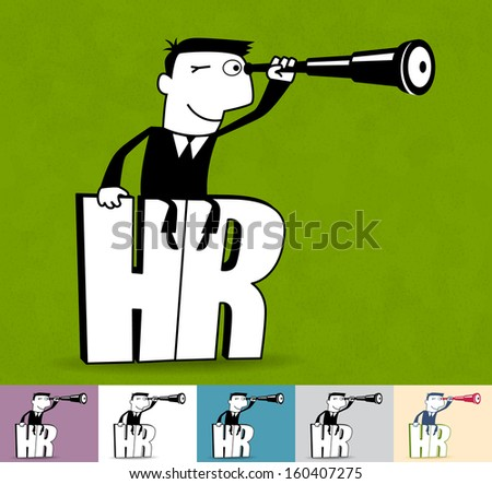 HR. Business illustration (EPS 10). Animation friendly: the elements ( arms, heads etc) are in the separate layers. Seamless pattern on the background (color can be changed)
