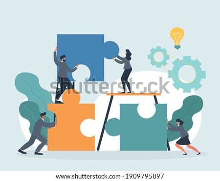 HR concept. Employee engagement and work motivation. Staff professionalism and inspiration. Common goals of the company and employees. Flat cartoon vector illustration with fictional characters Stock photo ©