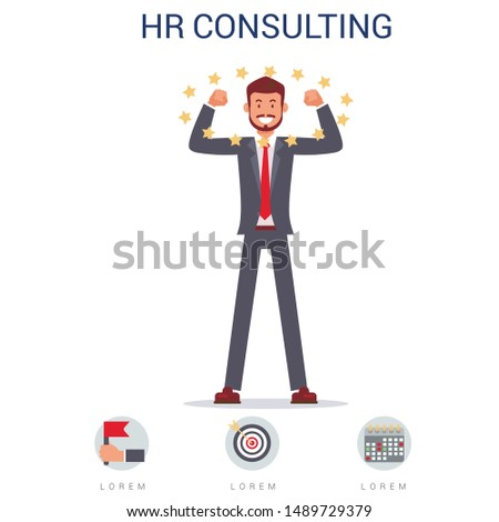 HR Consulting Flat Cartoon Banner Vector Illustration. Smiling Man in Suit Best Candidate. Analysing Character Professional Traits and Doing Personal Assessment. Planning, Career Ambitions.