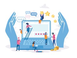 HR, employee care, support of professional growth, Vector illustration for web banner, infographics, mobile website. human recourses, perks and benefits for personnel, wellbeing at work or workplace.