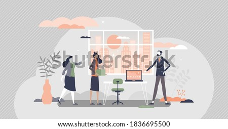 HR employee onboarding with introduction and integration tiny persons concept. Work explanation and welcome at first day at new work process vector illustration. Job presentation and duties learning.