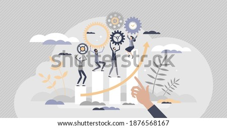 HR Employee performance evaluation and work improvement tiny person concept