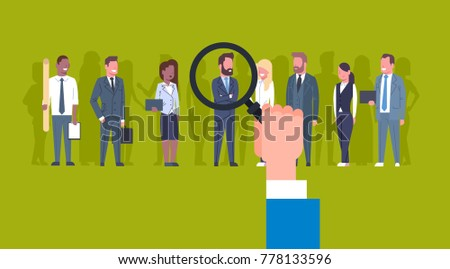 Hr Hand Holding Magnifying Glass Pick Businessman Of Group Of Business People Candidate Recruitment Concept Flat Vector Illustration