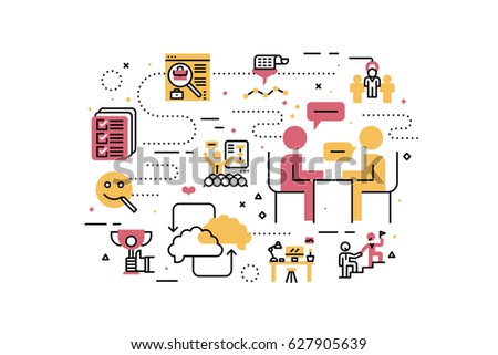 HR - Human resource line icons illustration. Design in modern style with related icons ornament concept for website, app, web banner.