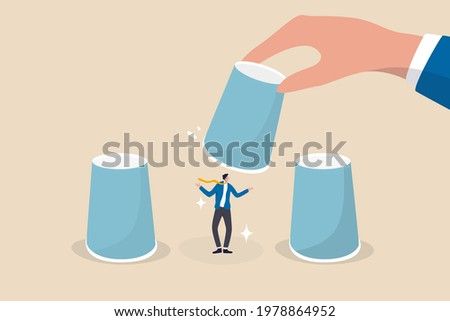 HR, Human resources choosing candidate, career choice or hiring manager and employment concept, employer hand lifting up the chosen cup to choose candidate businessman from guess game cups. Stock photo ©