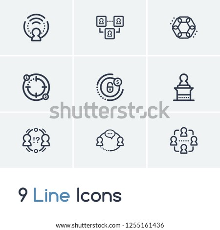 Hr icon set and conflict management with speaker, team and interaction. Management related hr icon vector for web UI logo design.