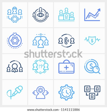 Hr icon set and team success with team members, collective leadership and insurance. Workers related hr icon vector for web UI logo design.