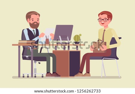 HR interview, screening, talking with a job applicant. Male recruiter holds a corporate meeting with young guy hired, reading an employee curriculum vitae, ask. Vector flat style cartoon illustration