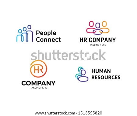 HR logo design template set. Vector human resources logotype collection with people icons. Line creative team work illustration background. Creative employee concept idea