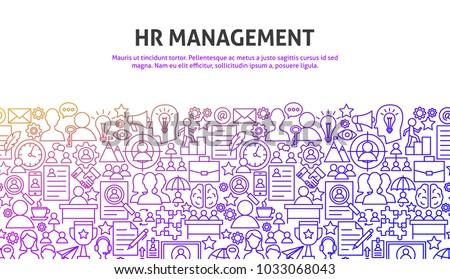 HR Management Concept. Vector Illustration of Line Web Design. Banner Template.