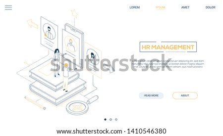 HR management - line design style isometric web banner on white background with copy space for text. A header with male, female managers choosing the best candidate, looking at CV on smartphone screen