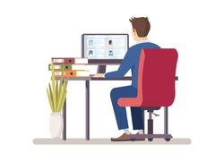 HR manager choosing applicants resume flat vector illustration. Recruiter, employer search staff, reading candidates cv on PC. Employment, recruitment service. Boss looking for personal assistant