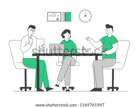 Hr Manager Hold Candidate Resume in Hands Welcoming Applicant at Job Interview. Relaxed Man Tell about Working Skills, Ideas and Work Experience to Committee. Flat Vector Illustration, Line Art