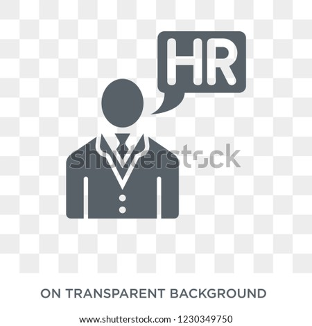 hr manager icon. Trendy flat vector hr manager icon on transparent background from general  collection. High quality filled hr manager symbol use for web and mobile