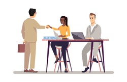 HR manager interviewing job applicant flat vector illustration. Boss with personal assistant hiring employee cartoon character. Employer and interviewer. Employment, headhunting service concept