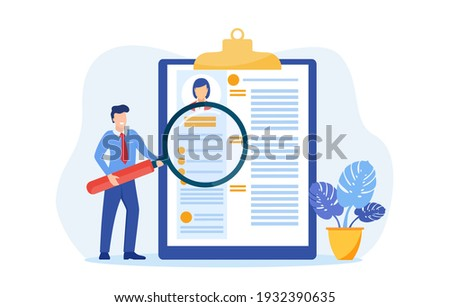 HR manager looking through a magnifying glass on job candidate CV. recruitment agency. Vector illustration in flat style Photo stock ©