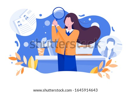 HR manager looking through a magnifying glass on job candidates. Flat style vector illustration on white background.