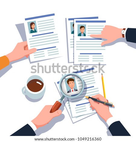 HR manager looking through business man and woman job candidates CV with magnifying glass. Employee applicants search, check & hiring research. Headhunting concept. Flat isolated vector illustration
