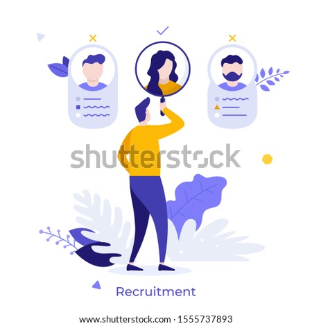 HR manager or recruiter looking through magnifying glass at candidates to hire. Concept of job application, personnel selection or management, professional recruitment. Modern vector illustration.