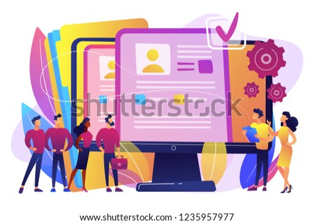 HR managers hiring candidates with hr software and resume on computer. HR software, human resources technology, employee effectivity control concept. Bright vibrant violet vector isolated illustration
