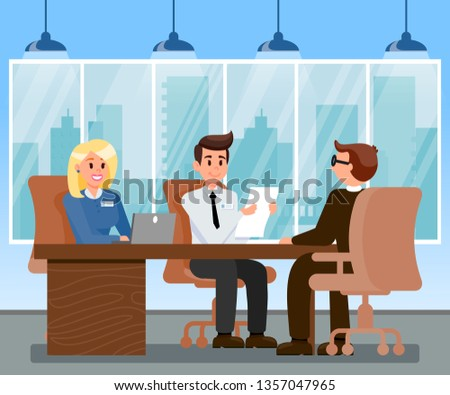 HR Managers Interviewing Applicant Illustration. Candidate at Job Interview. Female Boss Working on Laptop in Office. Man with Badge Holding CV, Resume. Cityscape View from Window Vector Drawing