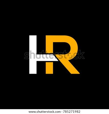 HR or H R letter alphabet logo design in vector format.