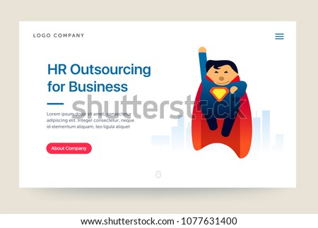 HR outsourcing company website template. Super hero illustration. Home page concept. UI design mockup.