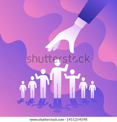HR, Recruitment or other people selecting concept - hand choosing one person from group of people icons - vector creative illustration
