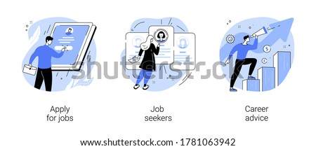 HR service abstract concept vector illustration set. Apply for job, job seekers, career advice, hiring, start career, search for work, employee profile, corporate website, menu bar abstract metaphor.