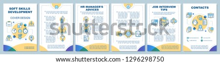 HR soft skills brochure template layout. Job interview tips. Flyer, booklet, leaflet print design with linear illustrations. Employment. Vector page layouts for magazines, annual reports, posters