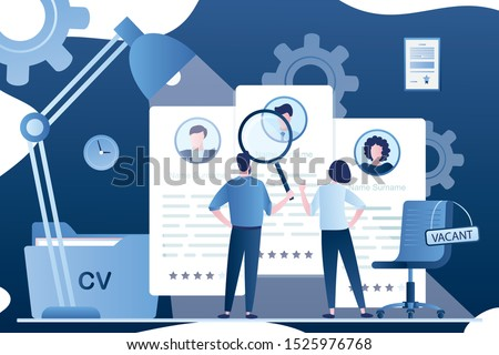 HR specialists choose job candidates. Recruitment agency concept background. Job interview, employment process. Business workplace and vacant chair. Tiny people back view. Vector illustration