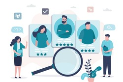 HR specialists choosing best candidate for job. Profiles of various people with ranking. Company searching new employee. Concept of cv resume and recruitment process. Flat design vector illustration