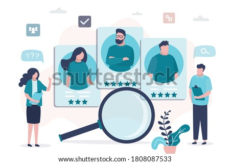 HR specialists choosing best candidate for job. Profiles of various people with ranking. Company searching new employee. Concept of cv resume and recruitment process. Flat design vector illustration Сток-фото ©