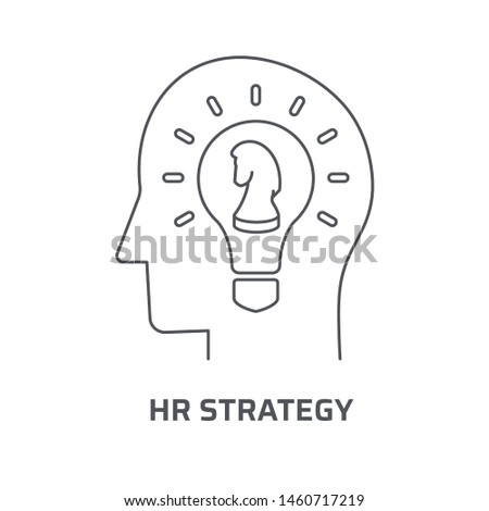HR strategy icon. Trendy modern flat linear vector hr strategy icon on white background from thin line general collection, editable outline stroke vector illustration