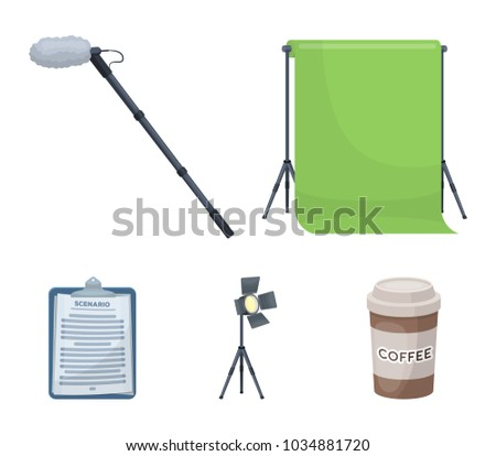Hromakey, script and other equipment. Making movies set collection icons in cartoon style vector symbol stock illustration web.
